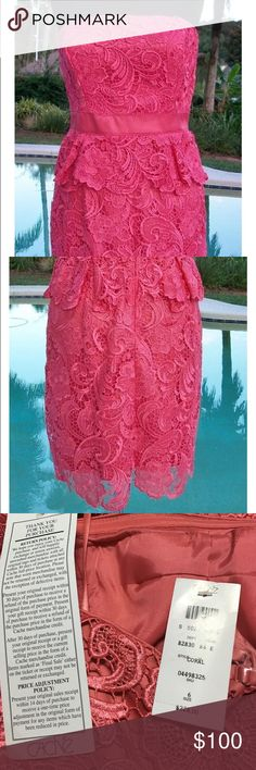 Cache Lace Peplum Strapless Dress size 6 New with retail price and dress tag, very flattering and comes with removable straps. Hidden back zipper. Cache Dresses Strapless