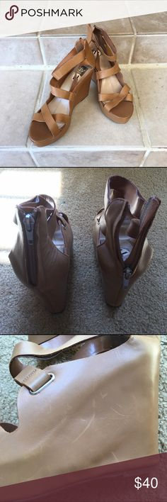 🆕 Listing! Dolce Vita Platforms Never been worn, but the damages are the result of being tried on at the store by potential customers. Pictures 3-5 are the left shoe. Pictures 6-8 are the right shoe. DV by Dolce Vita Shoes Platforms