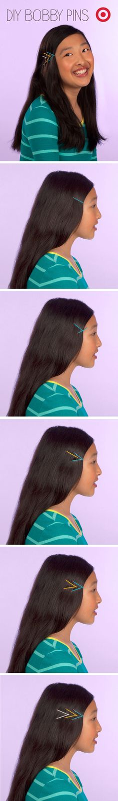 Make some arrows out of bobby pins in your back to school beauty's picture day hair.
