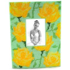 Front view of yellow rose frame