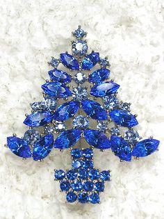 Sapphire Color Blue Rhinestone Crystal Christmas Tree Pin Brooch