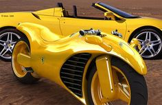 Ferrari motorcycle concept which uses a modified V4 engine from a Ferrari Enzo is equipped with drive-by-wire technology and features hand controls adapted from an F-16 fighter jet. Controls for sound system and trip computer are located on an all weather touchscreen.