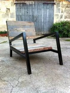 sillon de hierro y madera ( exterior/interior )