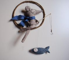 Hanging Mobile  The dreaming mouse van artedelsogno op Etsy