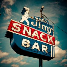 snack shack must have been taken! Old Neon Signs, Vintage Neon Signs, Old Signs, Advertising Signs, Vintage Advertisements, Vintage Ads, Roadside Signs, Roadside Attractions, Retro Signage