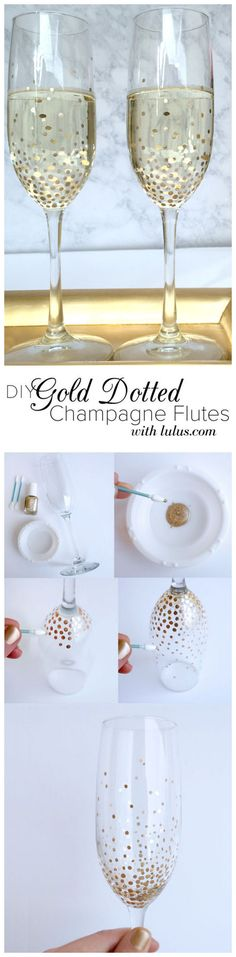 #DIY Gold Dot Champagne Flutes // Easy To Do & Beautiful Idea For A Wedding Or Valentines Day ❤︎