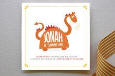 Happy Dragon Children's Birthday Party Invitations