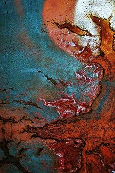 All Hollows Eve by Kim Calvert Macro shot of a dumpster/skip / texture / rouille / cercle / turquoise / orange / rouge Textures Patterns, Color Patterns, Foto Macro, Rust Paint, Rusted Metal, Peeling Paint, Rust Color, Abstract Photography, Abstract Art