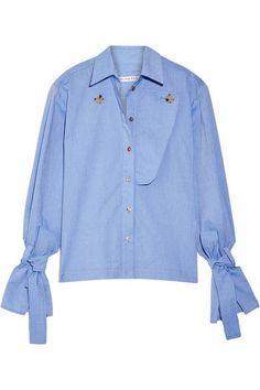 Rejina Pyo - Billie Cotton-chambray Shirt - Light blue