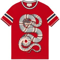 Gucci Cotton T-Shirt With Snake (10.196.975 VND) ❤ liked on Polyvore featuring men's fashion, men's clothing, men's shirts, men's t-shirts, men, ready-to-wear, t-shirts & polos, mens cotton t shirts, mens polo t shirts and mens red polo shirt