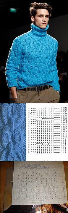 Шикарный свитер для мужчины спицами. Вязаный спицами мужской свитер 2015 | Домоводство для всей семьи