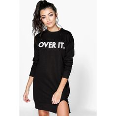 Boohoo 'Over It' Sweat Dress (€23) ❤ liked on Polyvore featuring dresses, black, holiday dresses, black dress, day to night dresses, black camisole and bodycon cocktail dress