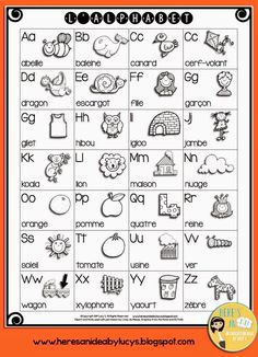 I'm in a sharing mood! FREE B&W Alphabet Charts - English and French versions Alphabet Charts, Alphabet Worksheets, Alphabet Activities, French Kids, Free In French, How To Speak French, Learn French, French Alphabet, English Alphabet