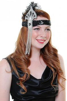 Handmade Crystal & Black Beaded & Sequined Head Band