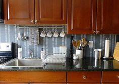 Plywood Backsplash Kitchen Organization, Kitchen Storage, Space Kitchen, Organization Ideas, Room Kitchen, Storage Ideas, Kitchen Dining, Inexpensive Backsplash Ideas, Kitchen Backsplash