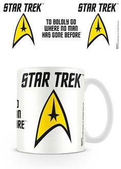 Taza logo Boldly. Star Trek Estupenda taza fabricada en cerámica 100% oficial y licenciada con el bonito dibujo del logo de la federación visto en la exitosa película de Star Trek.
