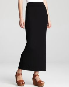Eileen Fisher - long black skirt with slit and foldable top (to adjust length) in black and mustard
