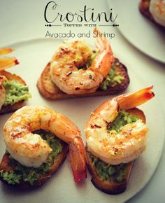 CROSTINIS TOPPED WITH AVACADO AND SHRIMP