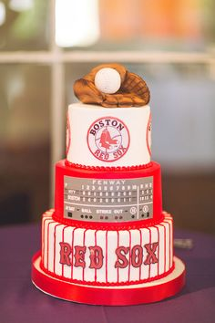 Kelly & Neal's wedding at Union Station in Dallas, Boston Red Sox grooms cake for my son-in-law by Fancy Cakes in Dallas!