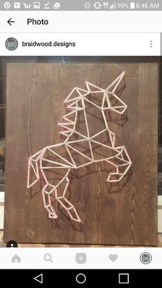 Geometric unicorn string art @braidwood.designs on instagram. | Beautiful Cases For Girls