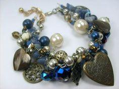 Navy Blue Chunky Charm Layer Bracelet with Brass and Blue Aventurine