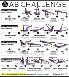 Get strong abs, a flat stomach and a smaller waist in just one month with our awesome 30 day ab challenge. Work your way through 4 weeks of a core-strengthening workout plan that includes strength circuits and cardio blast to really tone your abdominal muscles and help you burn a ton of calories.