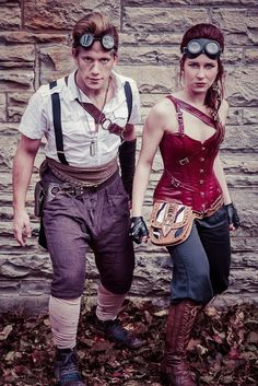 Scrappy Steampunk Couple - For costume tutorials, clothing guide, fashion inspiration photo gallery, calendar of Steampunk events, and more, visit SteampunkFashionGuide.com