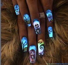Glow in the dark nightmare before christmas nails christmas nail designs, christmas nail art, Halloween Nail Designs, Christmas Nail Designs, Halloween Nail Art, Christmas Nail Art, Cute Nail Designs, Acrylic Nail Designs, Holiday Nails, Holloween Nails, Christmas Christmas