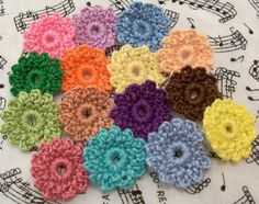 Crocheted Petite Flowers  Different Colors by FineThreads on Etsy, $3.75