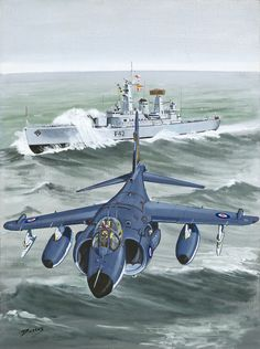 """This is another painting out of my book, """"An illustrated History of the Fleet Air Arm"""". It is done in acrylic on canvas board and is 50 x 60 cms The harrier is an amazing aircraft,and proved itself in combat in the Falklands, Iraq and Bosnia, defeating far more sophisticated and faster fighters."""