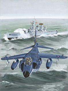 """Esta es otra pintura de mi libro, """"Una historia ilustrada de la Fleet Air Arm"""". Está hecha en acrílico en tablero de la lona y se encuentra a 50 x 60 cms El aguilucho es un avión increíble, y demostrado en combate en las Malvinas, Irak y Bosnia, derrotando a luchadores mucho más sofisticados y más rápidos."""