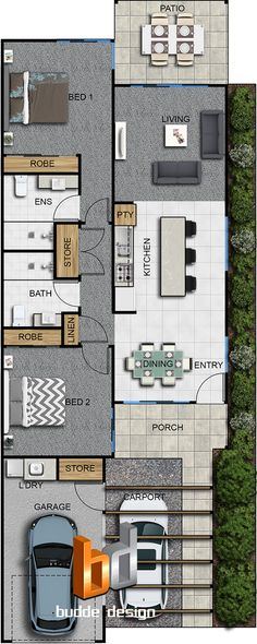 2D colour floor plan 2 bedroom 2 level townhouse, unit, house part of a 29 unit development - Ormeau Oaks, Ormeau Hills QLD