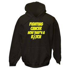 Make a funny statement with Fighting Testicular Cancer Cancer Now That's a Bitch Deluxe American Made Hooded Sweatshirt features an awareness ribbon and eye-catching text to make a bold but humorous impact while raising awareness for your cause by AwarenessRibbonColors.Com #TesticularCancerAwareness