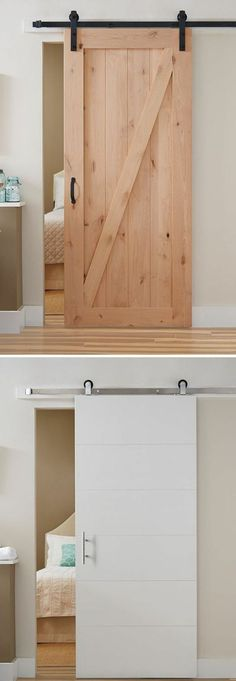 Barn Doors - Interior & Closet Doors - The Home Depot - If you're looking for a simple home upgrade, all-in-one barn door kits are a stylish way to refre - Home Upgrades, Kitchen Upgrades, Interior Closet Doors, Bedroom Doors, Closet Barn Doors, Room Interior, Interior Design, Entryway Closet, Interior Ideas
