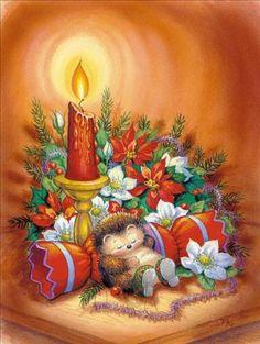 'love at Christmas' Card Old Christmas, Christmas Scenes, Christmas Animals, Vintage Christmas Cards, Retro Christmas, Christmas Greeting Cards, Christmas Pictures, Christmas Greetings, Christmas Holidays