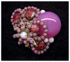 Haskell Opalescent Pink Art Glass & 'Ribbons' Brooch