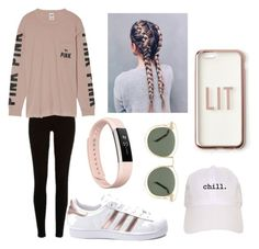 """""""Chill"""" by hannbanan2204 on Polyvore featuring River Island, Victoria's Secret, adidas, Missguided, Fitbit and Karen Walker"""