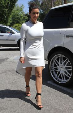 Kim Kardashian Cocktail Dress - Kim Kardashian looked modern and stylish in a Nha Khanh LWD with a high-low hem while heading out to lunch.