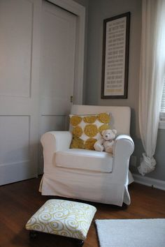 What a cute seating area for a nursery, plus this is a tutorial showing you how to turn a regular Ikea chair into a swivel rocker