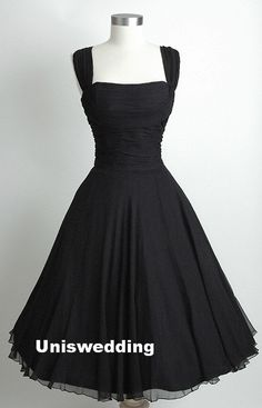 Vintage square neckline chiffon tean length black prom dress