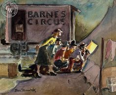 Ben Messick - A Peek at the Circus, c. 1940s - California art - fine art print for sale, giclee watercolor print - Californiawatercolor.com