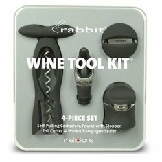 Metrokane Rabbit Wine Tool Kit, Velvet Black, 4-Piece by Metrokane. $24.99. Rabbit collection.. Manufacturer provides 10 years warranty on corkscrew.. Permanent storage case for wine tools, perfect for gift-giving.. The original best-selling wine tool kit.. 4-piece collection of wine tools: rabbit corkscrew, foil cutter, drip-stop ring, wine/champagne sealer.. Add a touch of class to your wine experience with the attractive metrokane velvet black rabbit 4-piece ...