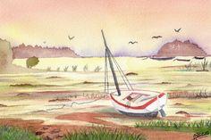 Aquarelle - Bateau abandonné après la marée