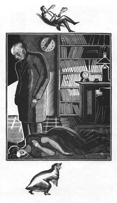 "Illustration to Charles Dickens's ""Hard Times"" 1930. Wood engraving"