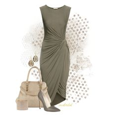 """H&M Draped Dress"" by sassafrasgal on Polyvore"
