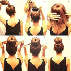 Sock Bun Tutorial: This is much easier than trying to roll the hair down with the sock ring. It is well suited for medium-length layered hair and for wet hair. However, I skip step 1 and just pull all my hair through the sock ring, then I add the hair tie Hair Tie, My Hair, Pretty Hairstyles, Easy Hairstyles, Hairstyles 2018, School Hairstyles, Wedding Hairstyles, Teenage Hairstyles, Girl Hairstyles