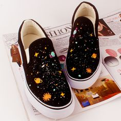 Harajuku colorful galaxy hand-painted students canvas shoes
