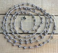 Boho crochet necklace long beaded crochet necklace