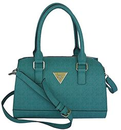 GUESS Signature Embossed Swoon Satchel Crossbody Bag Handbag Purse Turquoise e743bbd8831