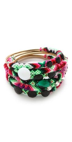 friendship bracelets, pom poms